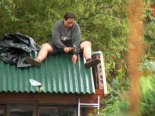 Man on a shed roof