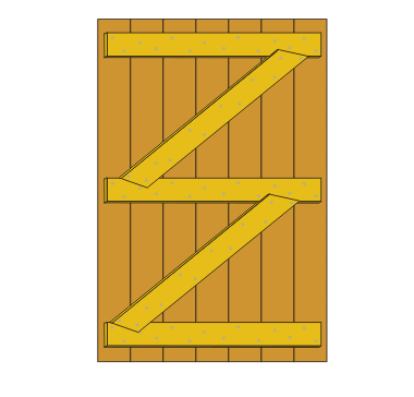 Fixing the shed door with diagonal braces
